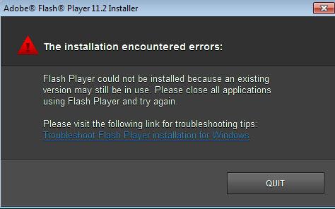 Adobe Flash Player installation error