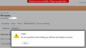 An error prevented us from linking your AdSense and Analytics accounts