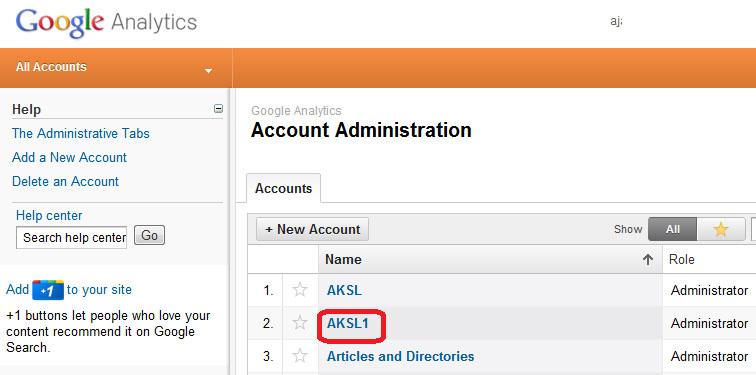 Google Analytics Account Administration