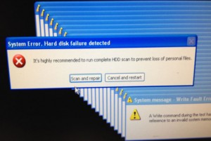 System Error. Hard disk failure detected