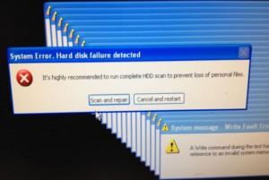 System Error. Hard disk failure detected