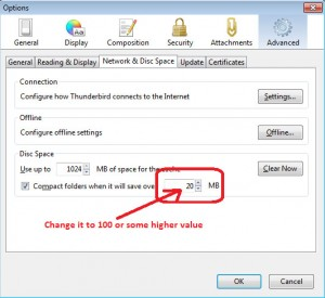 """How To Disable """"Compact Now"""" Message In Thunderbird"""