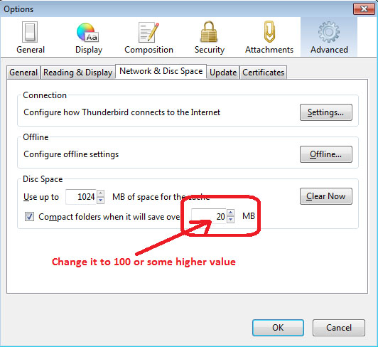 How to change Compact Now settings in Thunderbird