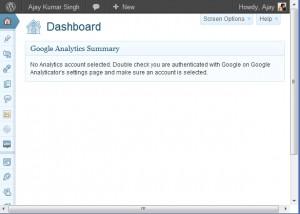 WordPres Plugin Google Analyticator Error – No Analytics account selected