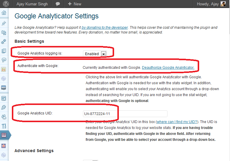 Google Analyticator Settings