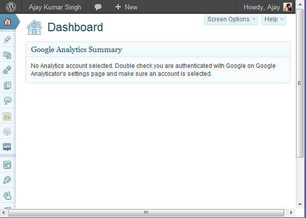 Google Analyticator Error in WordPress Dashboard