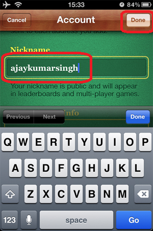 Change Game Center Nick Name