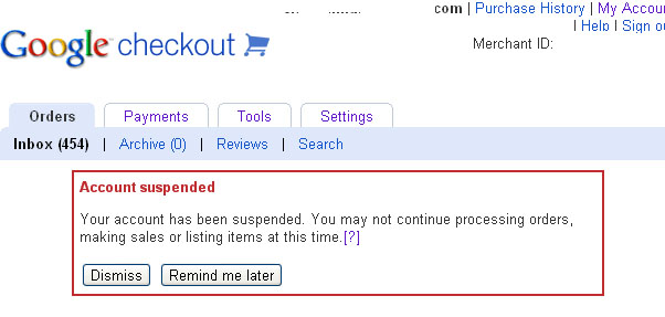 Google Checkout Account Suspended