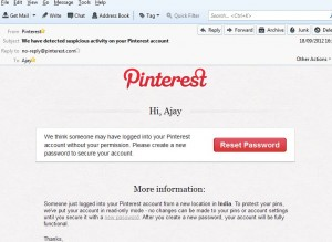 Pinterest Hacked? We have detected suspicious activity on your Pinterest account