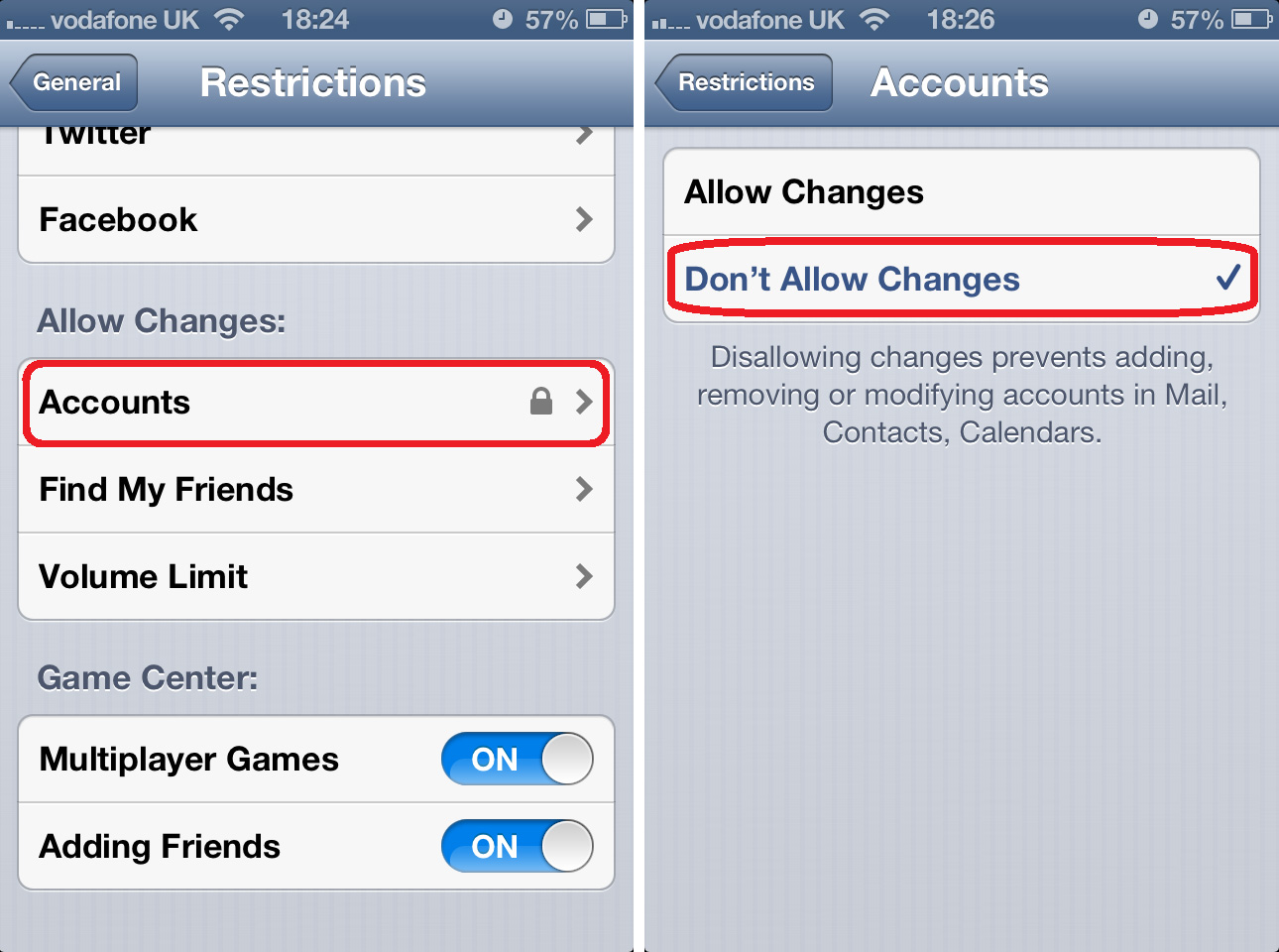 Disable Accounts Changes