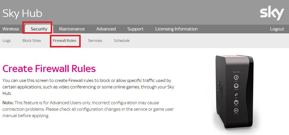 Sky Hub Security Firewall Rules