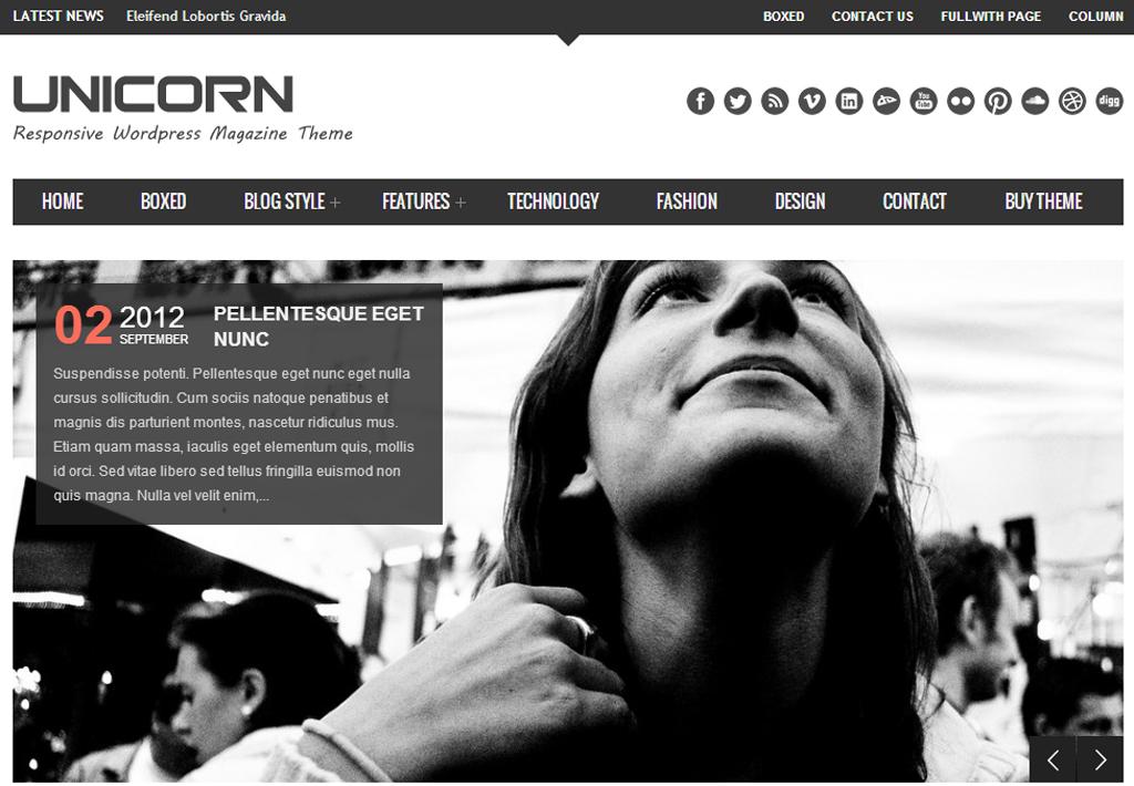 Unicorn Responsive WordPress Magazine Theme