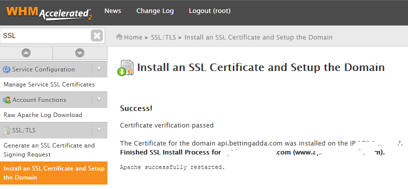 WHM SSL Installed Successfully