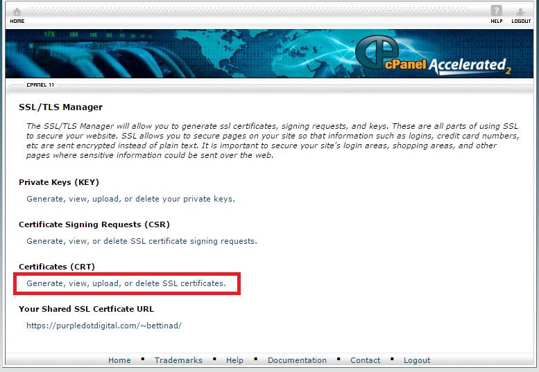 cPanel SSL/TSL Manager