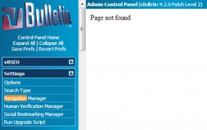 vBulletin Upgrade – Navigation Manager – Page Not Found